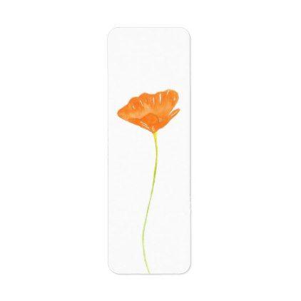 Watercolor California Poppy Label   Zazzle.com in 2020 ...