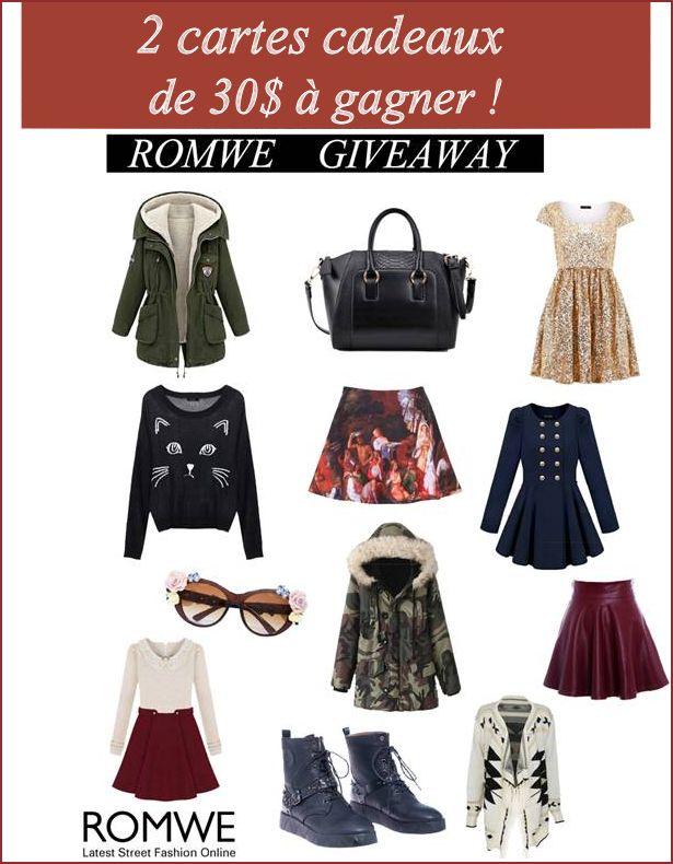 Remporter 2 cartes cadeaux de 30$ chez Romwe