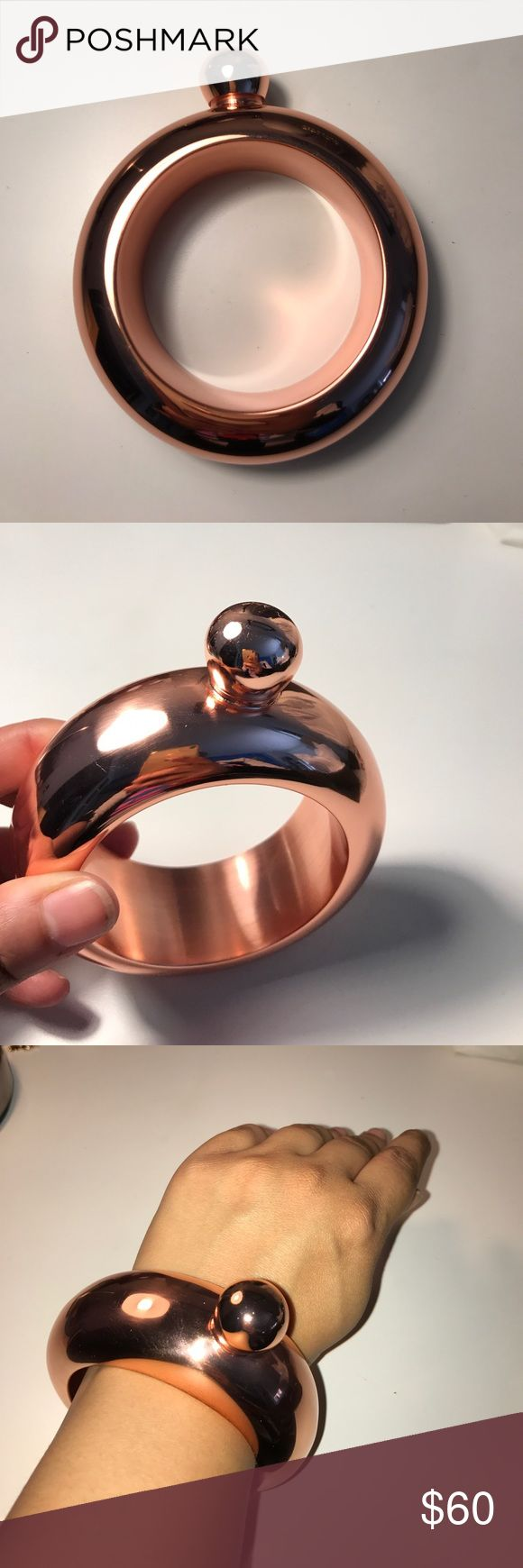 Rose Gold Flask Bracelet ❗️New in Box❗️ Super Cute Rose Gold Flask Bracelet. Funnel included. Holds 3oz of liquid. ❗️New in Box❗️ Jewelry Bracelets