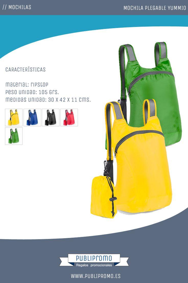 Mochilas plegables para personalizar modelo Yummio disponibles en cinco llamativos colores que las hacen ideales para lo niños. Descubre estas mochilas para niños y otras muchas para comprar online en nuestra tienda en Publipromo.es