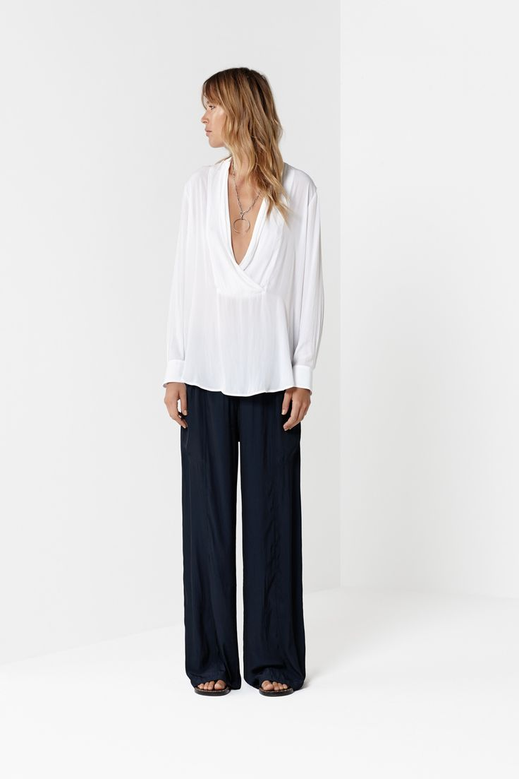 White Envelope Shirt Navy Maxi Panel Pant