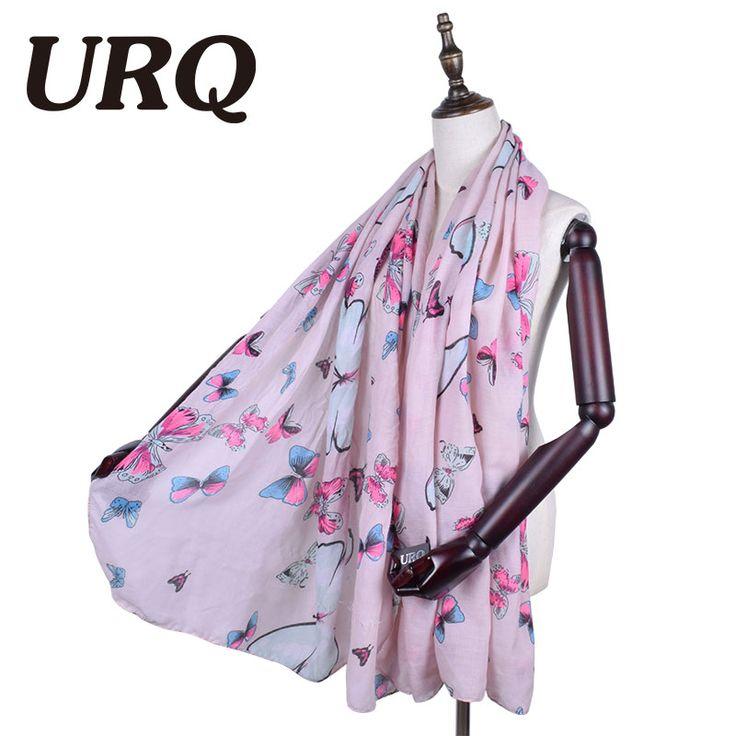 Woman Scarves Long Butterfly print Pink scarves large Viscose Foulard Shawl hijab 2017 Spring fashion brand Design