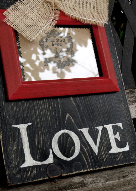 Rustic Distressed Wood 4 X 6 Black and Red and White Love, Amor, Amour, Amore Valentine's Day Picture Frame
