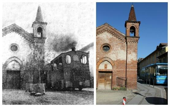 """Settimo Milanese: chiesetta di san Giovanni Battista, ancora una volta tramway e autobus a confronto.  (45°29'19.32""""N 9°03'17.19""""E 45.488708,9.05473)"""