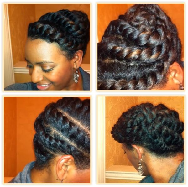 A 15 Minute Flat Twists Updo For Textured Hair - https://blackhairinformation.com/general-articles/hairstyles-general-articles/15-minute-flat-twists-updo-textured-hair/