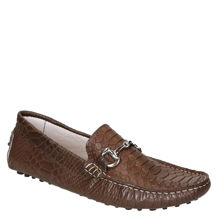 Brown crocodile textured leather driving moccasins for men - Italian Boutique €194