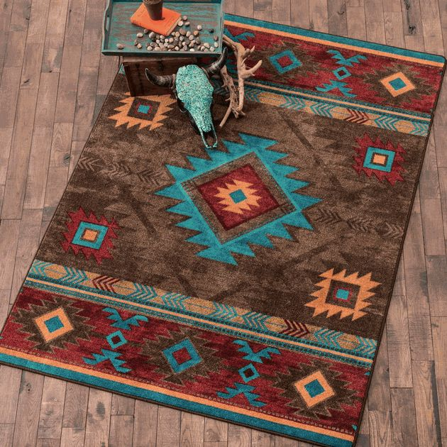 Whiskey River Turquoise Rug - 3 x 4