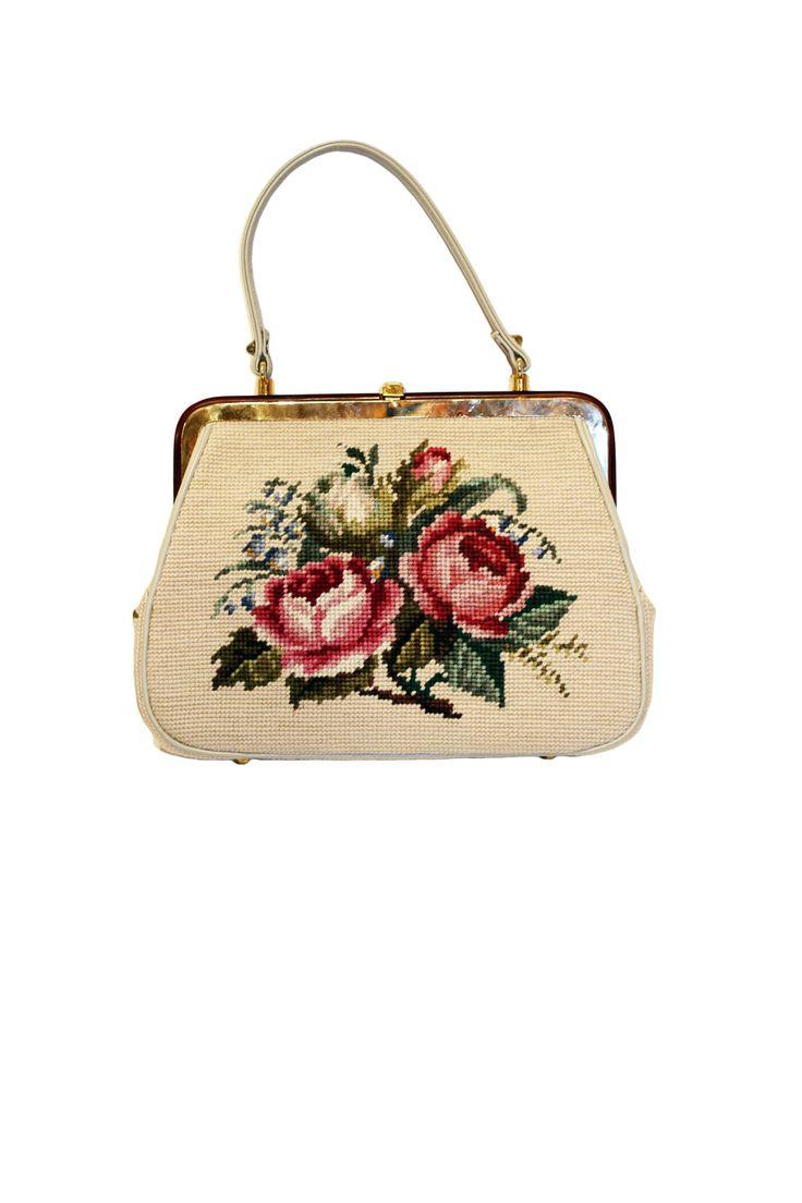 Cabaret Vintage - 1950s Needlepoint Bag, $75.00 (http://www.cabaretvintage.com/accessories/1950s-needlepoint-bag/)