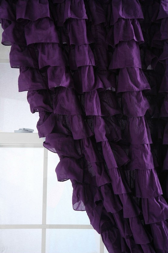 Love the ruffles on the curtain: Colors Purple, Purple Curtains, Living Room, Purple Passion, Shower Curtains, Ruffle Curtains, Purple Ruffles, Ruffles Curtains, Bedrooms Curtains
