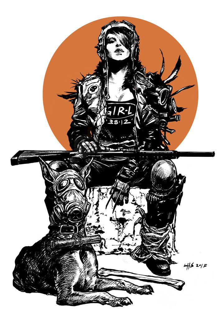 Post apocalyptic 2 - A Girl And Her Dog by bumhand.deviantart.com on @deviantART #illustration