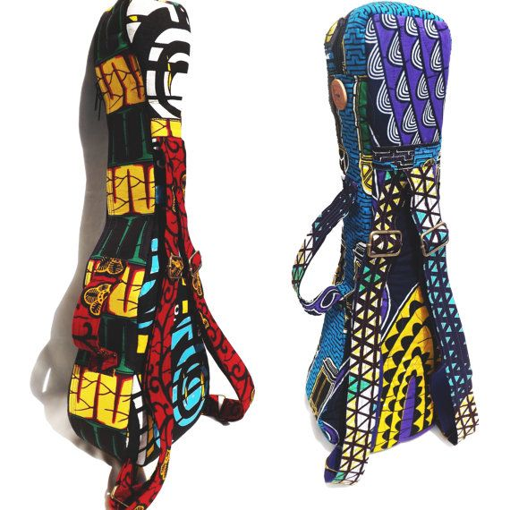 Custom Deluxe Ukulele Gig Bag, Semi-rigid, Foam-padded , backpack straps and handle, VLISCO fabrics, zipper pocket