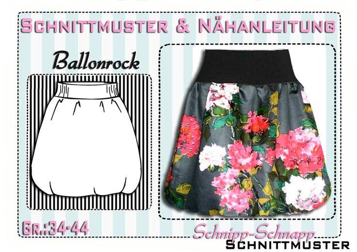 Schnittmuster  Ballonrock mit Futter Gr:34-44 von Schnipp-Schnapp auf DaWanda.com