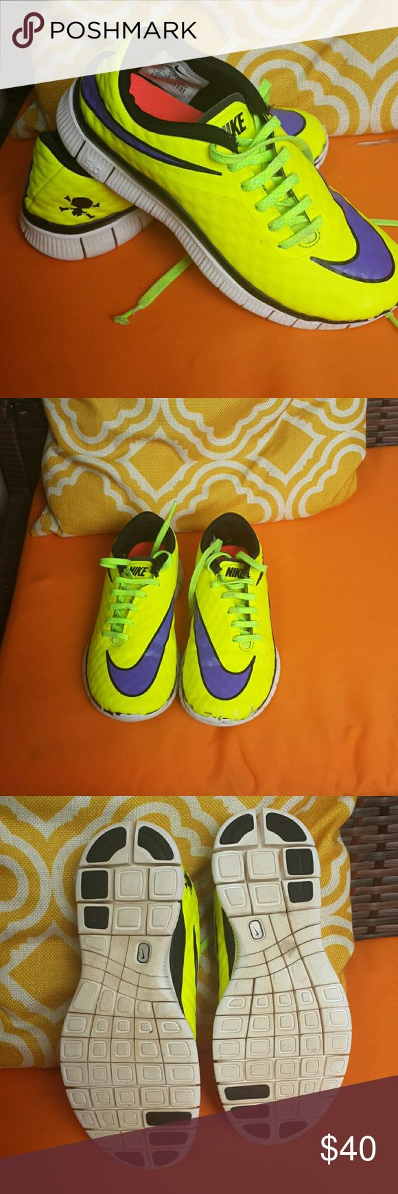 Nike free 5.0   US 3.5Y Nike free 5.0 neon shoes for boys . Good condition. Price is negotiable. Nike Shoes Sneakers