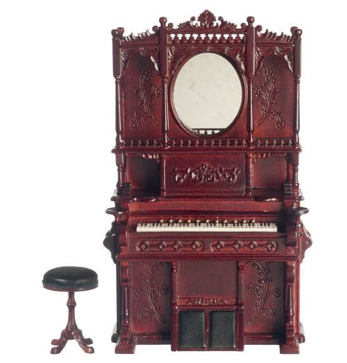 Minature Victorian Palor Organ Piano and Stool 1:12 Scale #PlatinumCollection