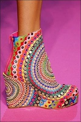 Colorful Ankle Boots by Fashion Designer Manish Arora - inspired by textiles and designs from India and Indian pop culture.  Multi color radial circle mandala design - beautiful unique and chic wedge heel ankle boots. fashion designing, shoe design, edgy fashion style, bold fashion statement boots, unique fashion, bohemian style, boho fashion, women's fashion, hippie style