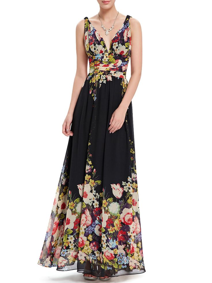 #AdoreWe StyleWe Maxi Dresses - CICI WANG Black Plunging Neck Sleeveless Floral-print Evening Dress - AdoreWe.com