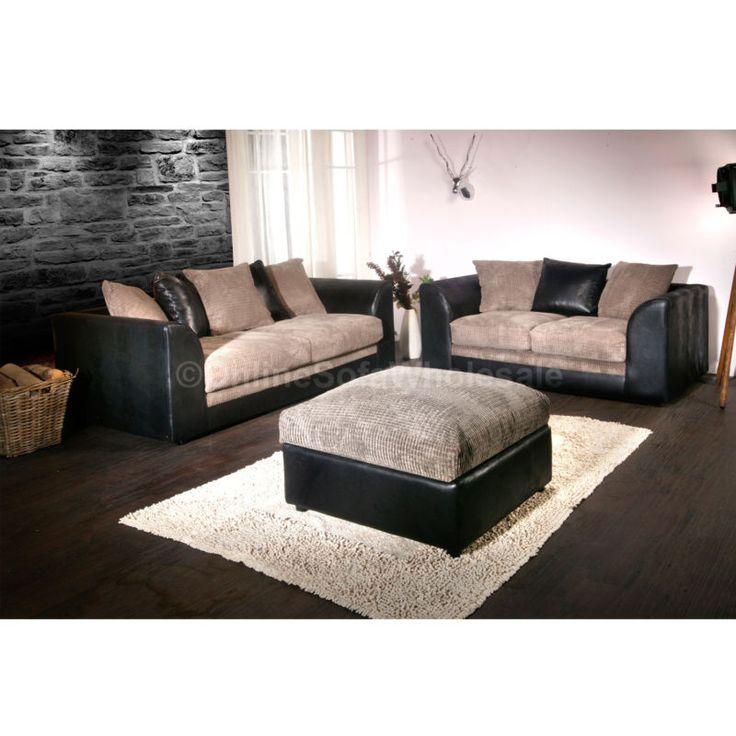 Good Dylan Cheap Sofa Set 3 U0026 2 Seater In Black U0026 Grey Jumbo Cord New Fabric