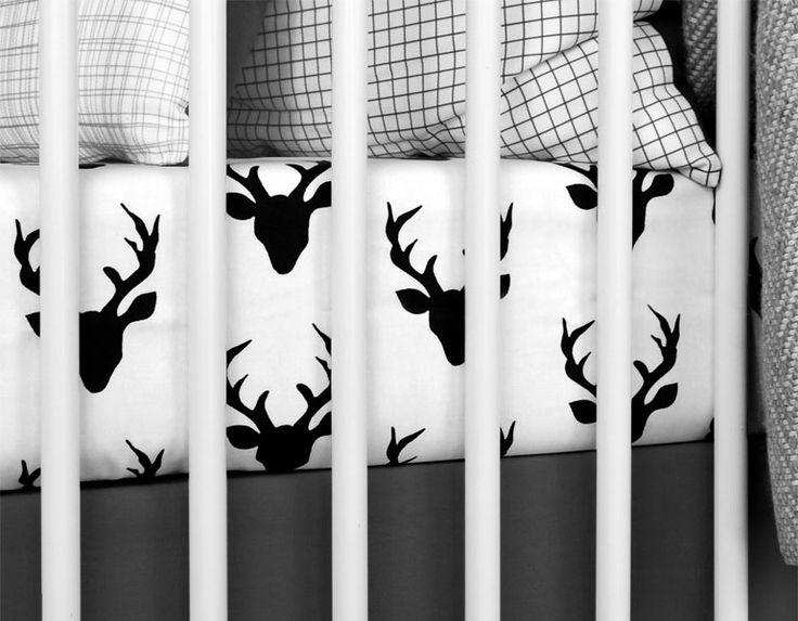 modern black white. Modern Crib Sheet Black White Deer By Twigandnest On Etsy
