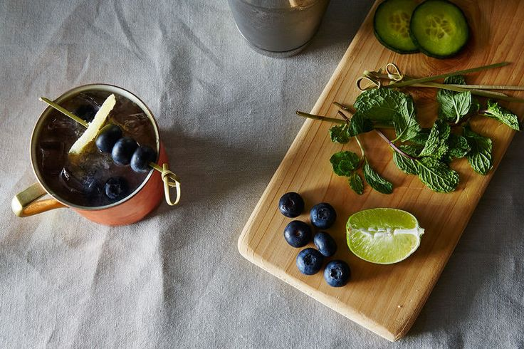 Garden Mule Cocktail (cucumber, blueberries, mint leaves, vodka, lime juice, ginger beer and candied ginger)