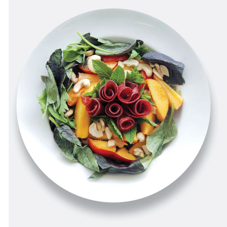 This stunning bresaola nectarine and cashew nut salad is a great clash of colours and textures
