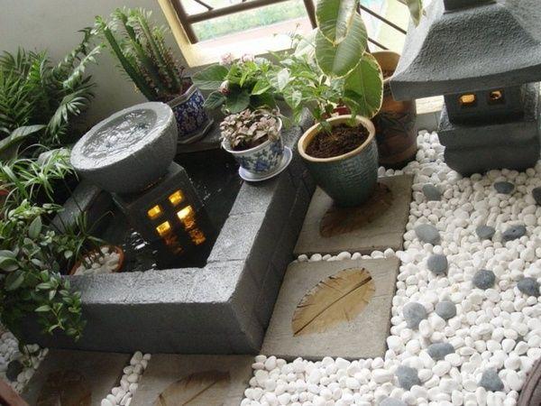 mini pond for the balcony zen garden pebbles white lanterns tiles concrete - Matchstick Tile Garden Decoration