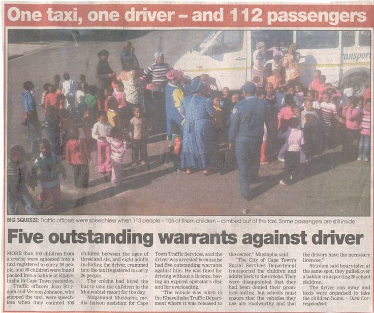 112 Passengers in one taxi - only in South Africa - I wonder if they tried for an entry in the Guiness Book of Records.