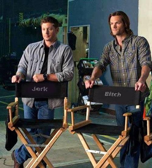 """Jensen Ackles and Jared Padalecki - Supernatural. I want those chairs; I call Rob """"Jerk"""" all the time anyway."""
