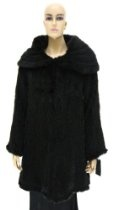 Knit Mink Coat with Wrap Around Collar - Black