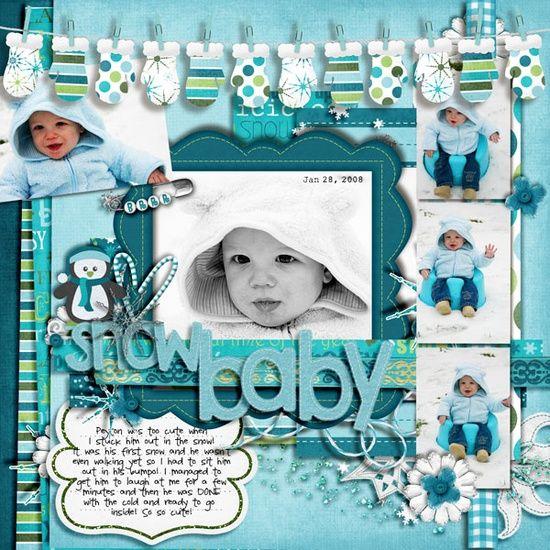 baby layouts scrapbooking | Scrapbook Winter and Snow Layouts / Snow Baby scrapbook layout