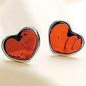 Baltic Amber Pierced Hearts Earrings