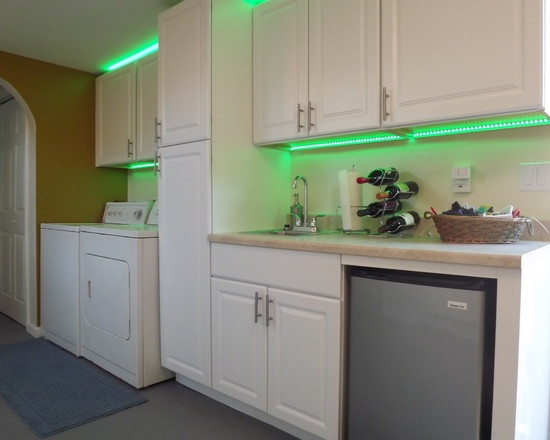Garage Remodel   Accent Lighting Under Cabinets With LED Strip Lighting  From EnvironmentalLights.com   So Cool! Http://www.environmentallights.cu2026