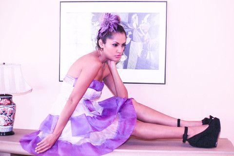 Lavender purple organza ruffle A line cocktail party dress – Fashion Pop