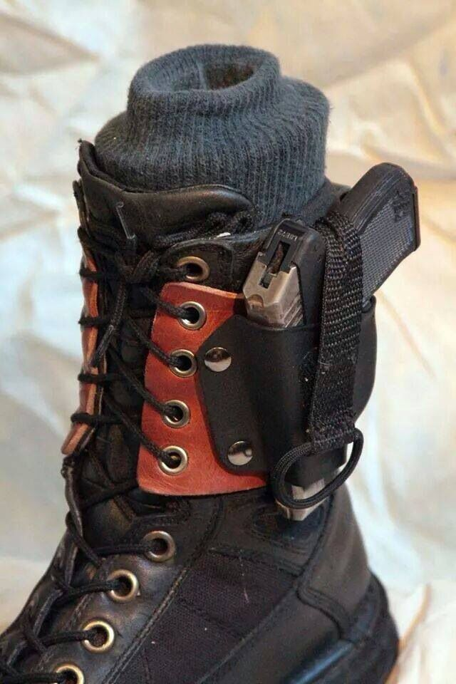 Lace-on boot holster. Might modify this for a knife sheath.