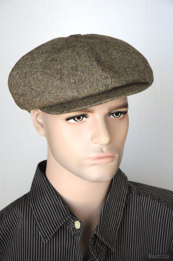 Tan newsboy hat Mens newsboy hat Brown tweed cap Womens  dfb87e631775