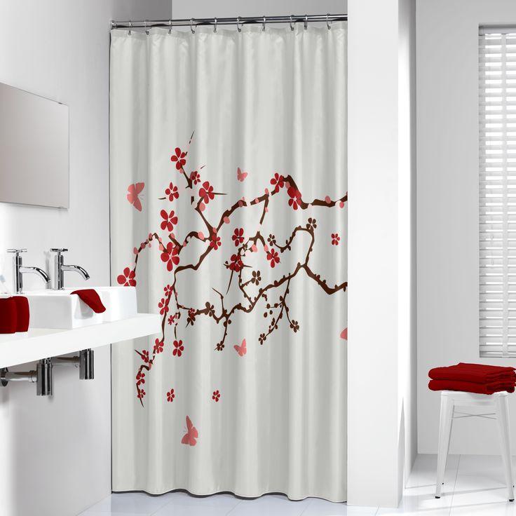 Dit douchegordijn is voorzien van een sierlijke Chinese tak met rode bloesem. Er omheen vliegen roze vlindertjes. Ook kunnen wij op maat gemaakte douchestangen en bijpassende badkamer accessoires leveren.