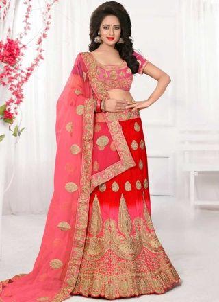 Red Pink Embroidery Work Net Silk Fancy Designer Wedding Lehenga Choli http://www.angelnx.com/Lehenga-Choli/Designer-Lehenga-Choli