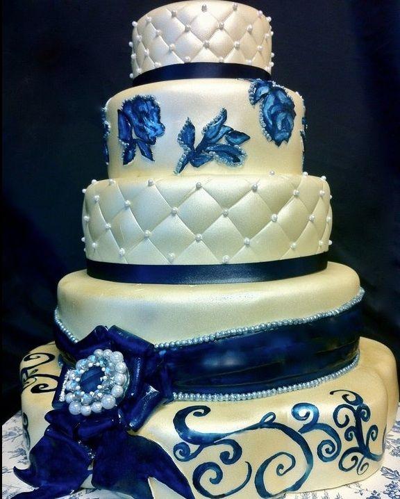 navy blue wedding cakes | Navy Blue and Ivory Wedding Cake