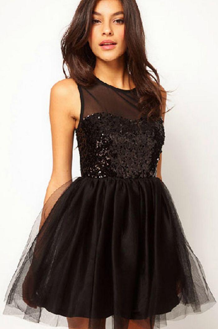Beautiful Black Sleeveless Chiffon Short Dress