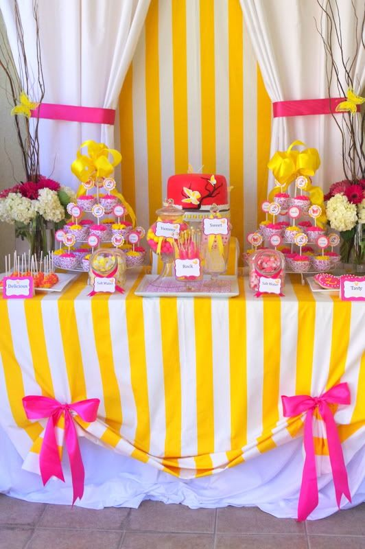 pink and yellow butterfly girl theme party ideas kids birthday party http://www.frostedevents.com DC MD VA