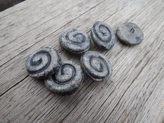 Ceramic Spiral Button  7/8 20mm round button by BlueBirdyDesign