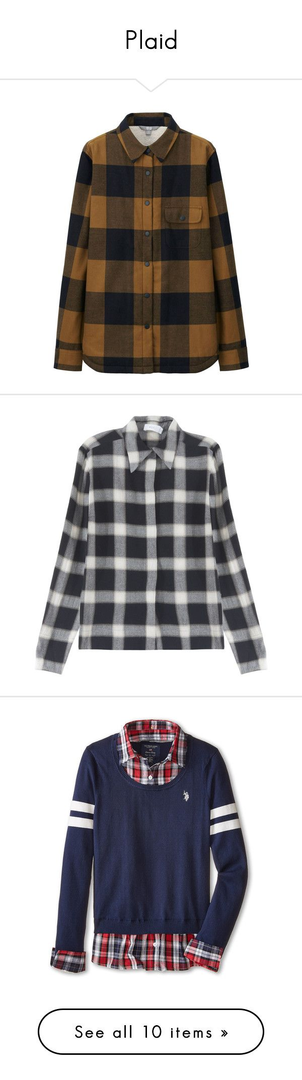 """""""Plaid"""" by mingnawen ❤ liked on Polyvore featuring tops, long flannel shirts, brown shirt, long sleeve flannel shirt, slim fit flannel shirt, long shirts, a.l.c., sweaters, tops/outerwear and black"""