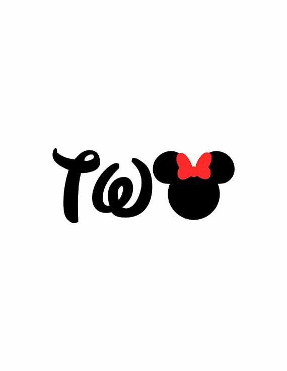 Minnie Mouse Birthday Svg, Two Svg, Minnie Svg, Minnie Ears Svg, Cricut Cut Files, Silhouette Cut Files