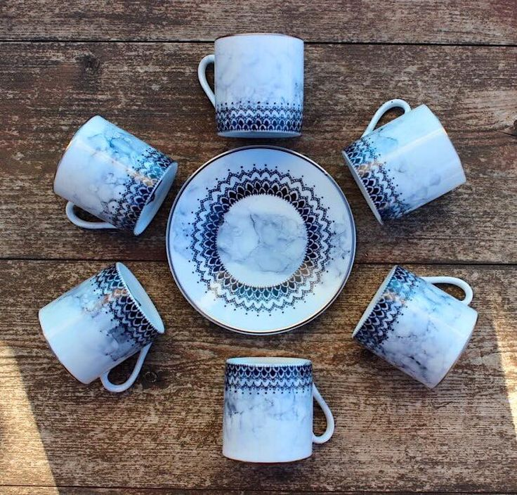 Mandala Coffee Set Black   CazaBrand