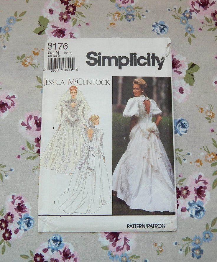 Jessica McClintock Wedding Dress Pattern - 1992 Simplicity 8176 by WynnsTreasuredFinds on Etsy