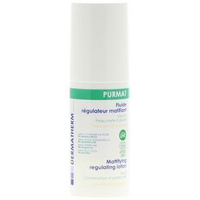 Matifiant et purifiant, Purmat Fluide Régulateur Matifiant DERMATHERM régule l'excès de sébum et laisse une sensation agréable de peau douce. Pour les peaux à tendance grasse, même réactives.