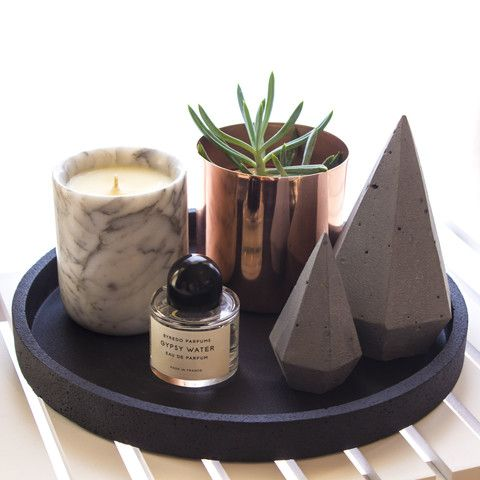 Zakkia round concrete tray + diamonds @immyandindi #immyandindi
