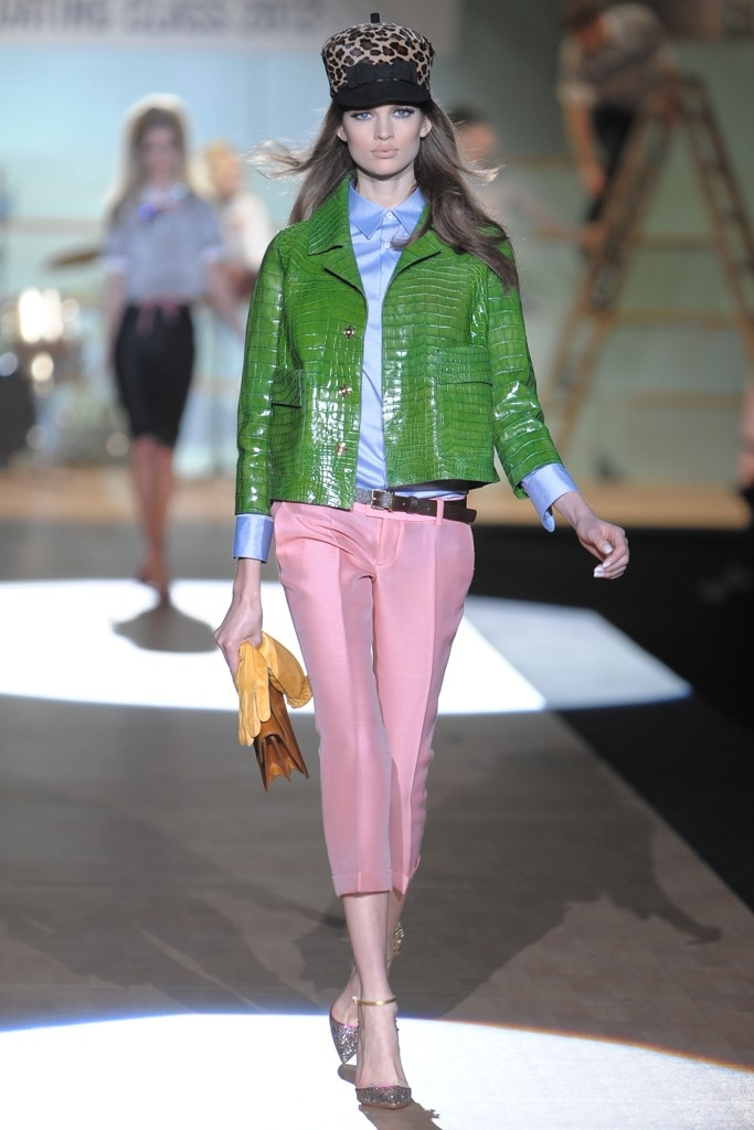 Green croc jacket and pink crop pants from Dsquared2 RTW Fall 2012 - Milan. Photo by Davide Maestri (WWD)