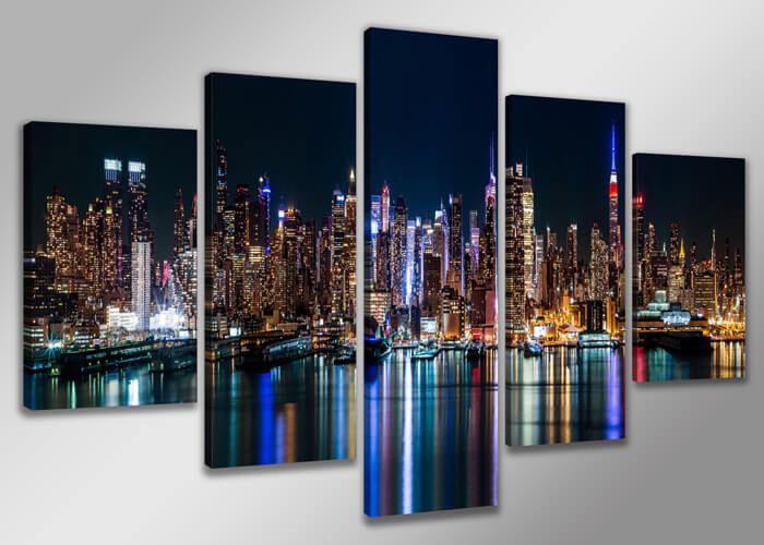 Schilderij New York XXL is een prachtige 5-luik kunstwerk. New York is om te zien een prachtige stad. Hang dit schilderij aan de muur en je kunt er elke dag van genieten!