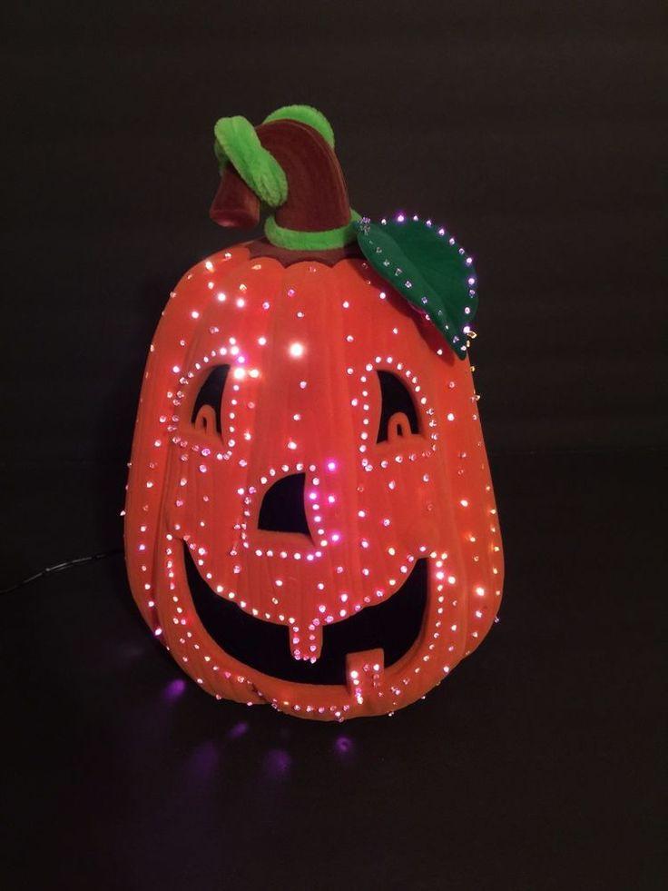 2002 avon halloween glowing fiber optic pumpkin felt for Fiber optic halloween decorations home