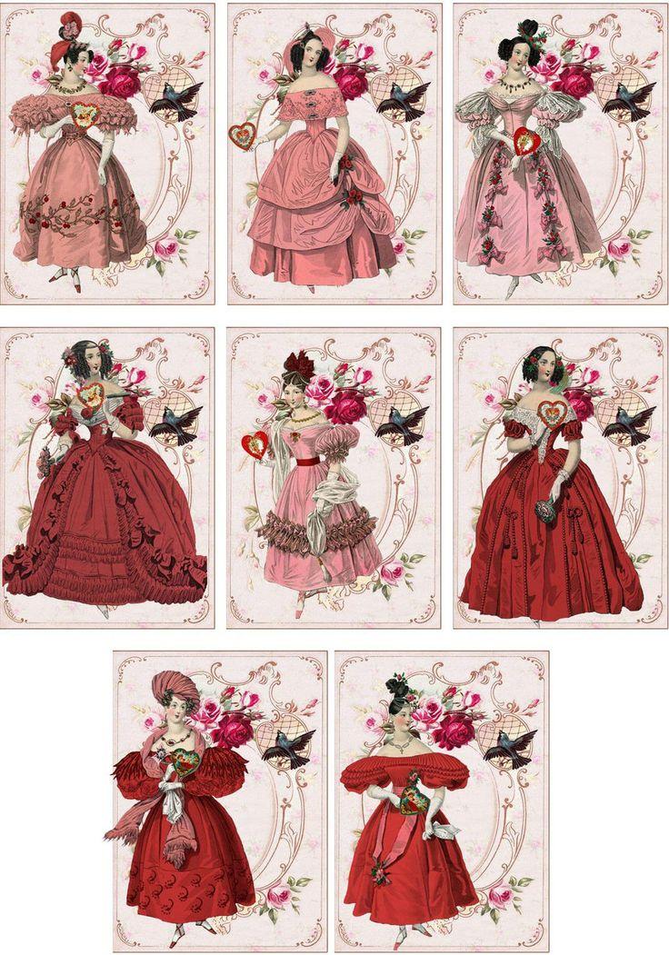 Vintage Jane Austen Valentine Small Note Cards Tags ATC Altered Art Set of 6 | eBay
